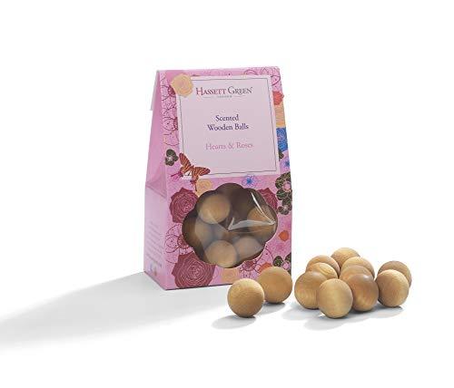 Hassett Green London geurballen van hout, 12 stuks - hart & rozen - alternatief voor Potpourri-geur, diffuser, zak en inzetstuk voor schuifladen