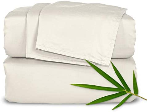 PURE BAMBOO Sheets King Size Bed Sheets 4 Piece Set, Genuine 100% Organic Bamboo, Luxuriously Soft & Cooling, Double Stitching, 16 Inch Deep Pockets, Lifetime Quality Promise (King, Ivory)
