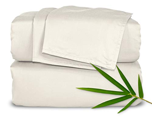 "Pure Bamboo Sheets King Size Bed Sheets 4 Piece Set, 100% Organic Bamboo, Luxuriously Soft & Cooling, Double Stitching, 16"" Deep Pockets, 1 Fitted, 1 Flat, 2 Pillowcases (King, Ivory)"