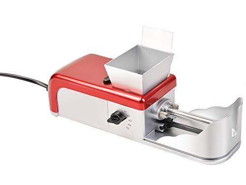 Goplus Cigarette Rolling Machine Electric Automatic Tobacco Smoking Roller Maker Mini Cigarette Injector Machine (red+Silver)