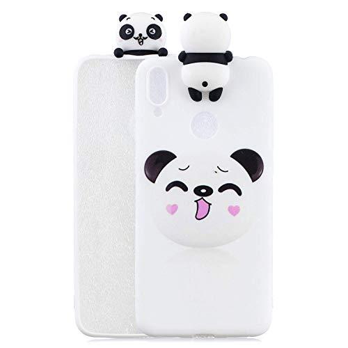 HongYong Coque Huawei Y7 (2019) 3D Silicone Idées Série Cartoon Motif Panda Mignon Souriant Ultra Mince Silicone TPU Antichoc Arrière Housse Cover Étui de Protection pour Dames et Filles.