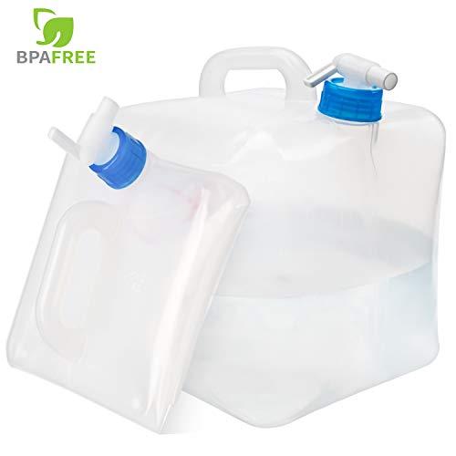 ElifeAcc Fasserkanister Faltbar Tragbar Faltbarer Wassertank mit Zapfhahnfür Wandern Camping Picknick Travel BBQ (ohne BPA) (5,2Gal/20L)