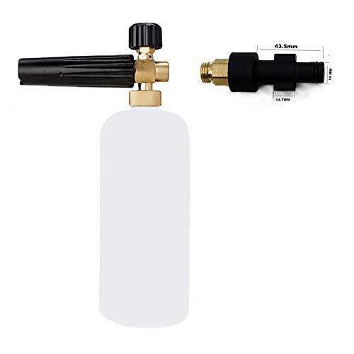 Lanza de espuma de nieve para lavadora de coche, espuma de jabón con boquilla de espuma ajustable, botella dispensador de jabón rociador, 1 L y adaptador de rosca macho para Elitech,Interskol,Hitachi