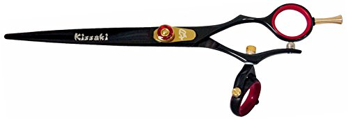 Kissaki Hair Scissors Gokatana 7.0 inches Double Swivel Black R Titanium Hair Cutting Shears