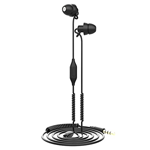 SM SunniMix Sleeping Earbuds Earplugs Comfortable Earphones with Mic for Sleeper Meditation Cellphones Black