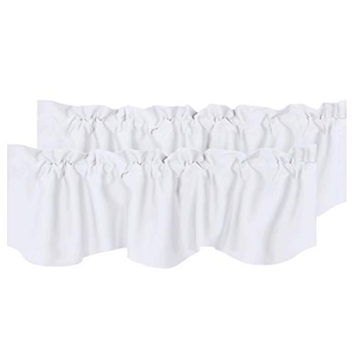 """H.VERSAILTEX 2 Panels Blackout Curtain Valances for Kitchen Windows/Living Room/Bathroom Privacy Protection Rod Pocket Decoration Scalloped Winow Valance Curtains, 52"""" W x 18"""" L, Pure White"""