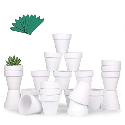 GROWNEER 24 Pack 2.5 Inch White Mini Clay Pots Terracotta Pot with 25 Pcs Plant Labels, Ceramic Pottery Planter Cactus Succulent Nursery Pots, for Indoor Outdoor Plants, Crafts, DIY, Wedding Favor