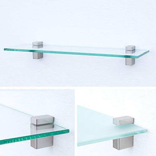 Glasregal 1000x120x8mm | Klarglas + Halterung H - Chrom glanz optik
