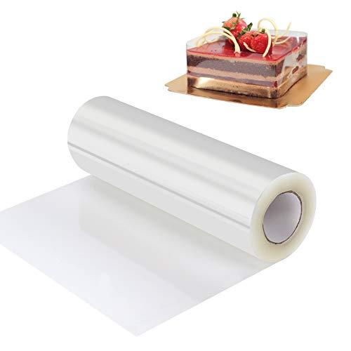 QH-Shop Transparent Acetat Rolle Tortenrandfolie, Transparent Kuchen Halsbänder Kuchen Kragen für Tortendeko Schokolade Mousse Dessertringe (15cm x 10m)