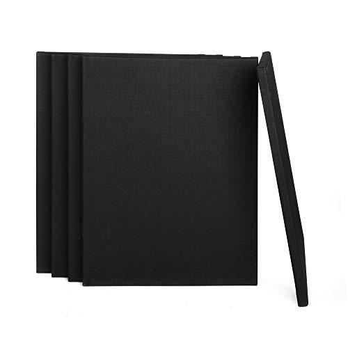 ewtshop® Schwarze Leinwände mit Keilrahmen, 100% Baumwolle, 5 Stück, 30x40 cm, Canvas, Kunstleinwand, Leinwand Tafel, weiß