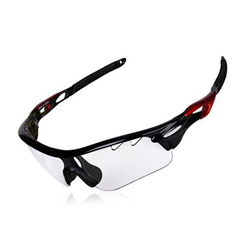 DEKINMAX Gafas Ciclismo Protección UV Gafas de Sol Ligeras con Gafas Correa para Deportes BTT Moto Pesca Playa Golf Senderismo (Transparente)