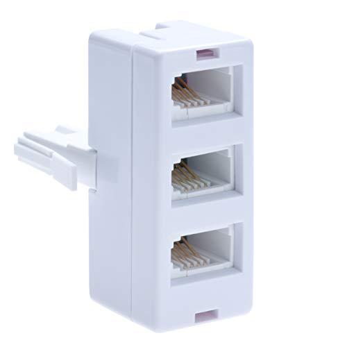 BT Telefonanschlussbuchse 3-Wege-Splitter | Buchsen auf BS6312 431A Stecker | Kabel UK Adapter Festnetzanschluss Konverter Extender FAX Modem Schnurloses Telefon Sky| 4 Draht Konverter | Weiß