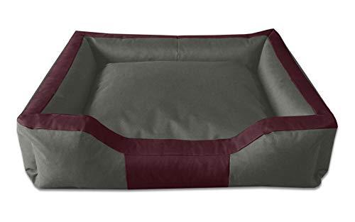 BedDog® hondenmand BRUNO, vierkant hondenkussen, grote hondenbed, hondensofa, hondenhuis, met afneembare hoez, wasbaar, XXXL, bordeaux/grijs