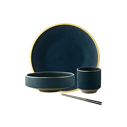 DHJDFV Piatti Piatti in Ceramica d'oro Piatti di Cibo Bistecca in Stile Nordico Piatti da tavola in Stile retrò (Dimensioni : 4pcs Set)