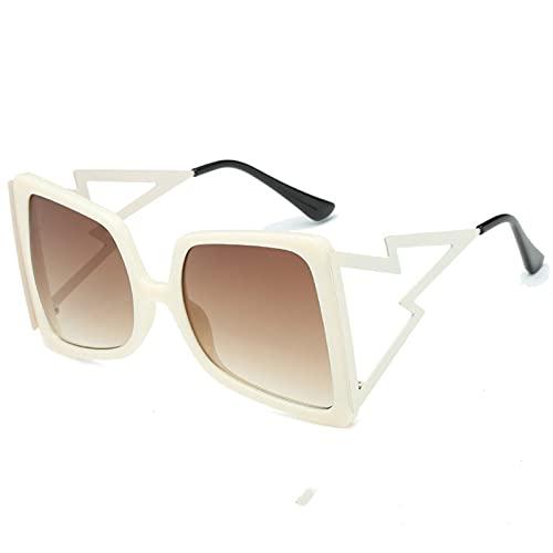 Gafas de Sol cuadradas de Gran tamaño Hueco para Mujeres de Moda Forma de Arco Bee Gafas de Sol Femenino Gradiente Negro Pink Big Shades Gafas de Sol (Lenses Color : 5)