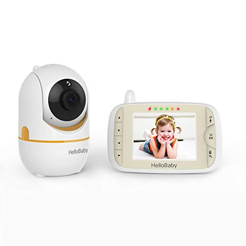 Baby Monitor with Camera and Audio, Hello Baby Monitor with 3.2' LCD Screen, Remote Pan-Tilt-Zoom Camera, Night Vision, VOX, 2-Way Audio, HB65 Gold Color, Hellobaby