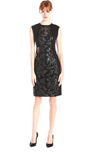 YOANA BARASCHI Womens Faux Leather Detail GRACE SHARPER Dress Sz 2 Black 230581E
