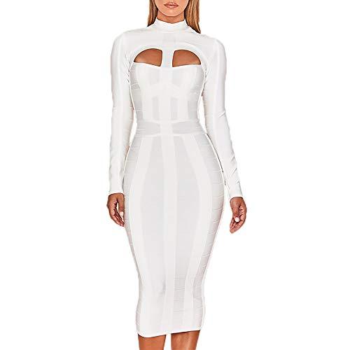 HLBandage Elegant High Neck Long Sleeve Hollow Out Celebrity Bandage Dress (XL, White)
