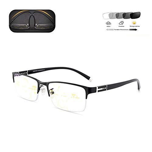 HQMGLASSES Anti-Azul Claro Gafas de los Hombres de HD progresiva Multi-focales de Lectura, Gafas de Sol fotocrómicas adecuados para la conducción al Aire Libre/Lectura de +1,0 a +3,0,Negro,+ 2.5