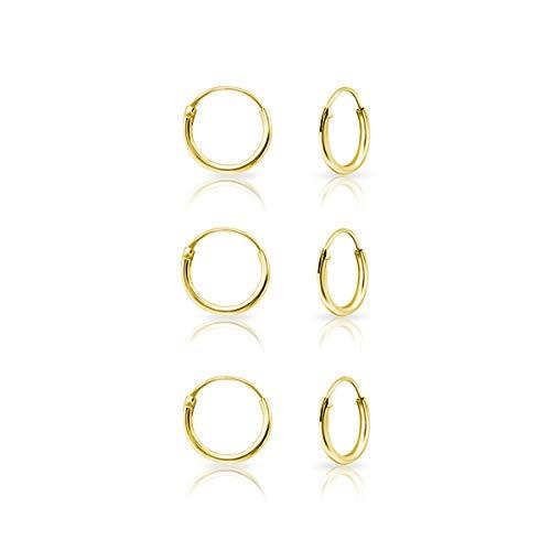 DTPsilver - Damen - Klein Creolen - 3 Paare Ohrringe 925 Sterling Silber Gelb Vergoldet - Dicke 1.2 mm - Durchmesser 10 mm