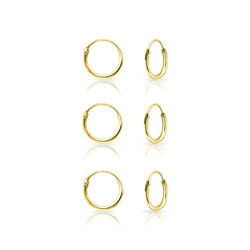 DTPsilver® 3 Paare KLEINE Creolen Ohrringe 925 Sterling Silber Gelb Vergoldet - Knorpel/Wendel/Tragus - Dicke 1.2 mm - Durchmesser 10 mm