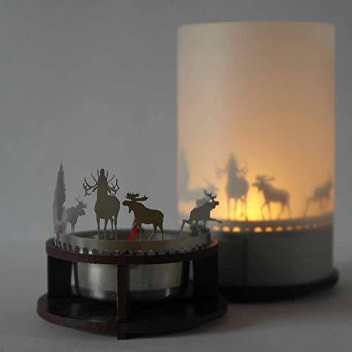 13gramm Elch Windlicht Schattenspiel Premium Geschenk-Box, inkl. Kerzenhalter, Kerze, Projektionsschirm und Teelicht