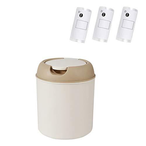 Contenedor de baño pequeño para encimera de 2.5L, Contenedor de desechos de alimentos con tapa para hogar y cocina, Contenedor de plástico para dormitorios con 90 bolsas de basura-bin with push lid