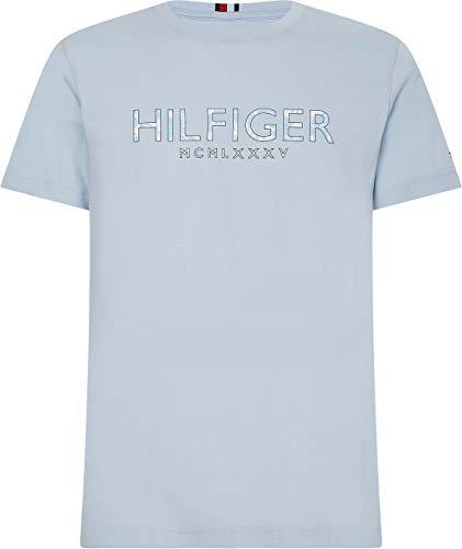Tommy Hilfiger Hilfiger Palm Print tee Camiseta, Azul Breezy, L para Hombre
