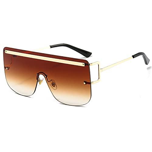 FENGHUAN Gafas de sol de gran tamaño para hombre Gafas de una pieza para mujer Marco de metal Conducción marrón dorado