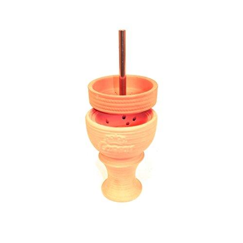 Caesar Shisha Tonkopf Set Kamin 01 aus Hochwertigem Ton - mit Deckel | Universell Einsetzbar