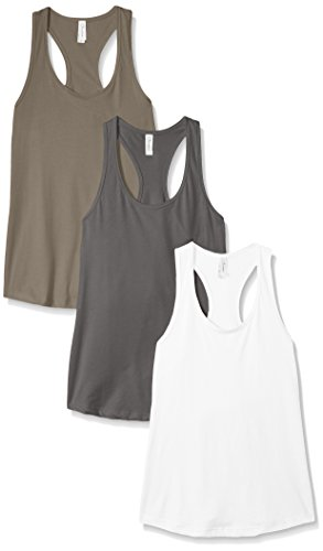 Clementine Apparel Women's Petite Plus Ideal Racerback Tank (Pack of 3), White\Dark Warm Gray, XXL
