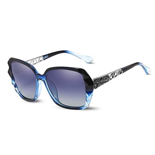 LumiSyne Gafas de sol Mujer Gradient Espejo,Gafas UV 400 Polarizadas,De gran tamaño Policarbonato Marco Diamante Cristal,Al aire libre Viajar Caja de regalo(Azul Gradient)