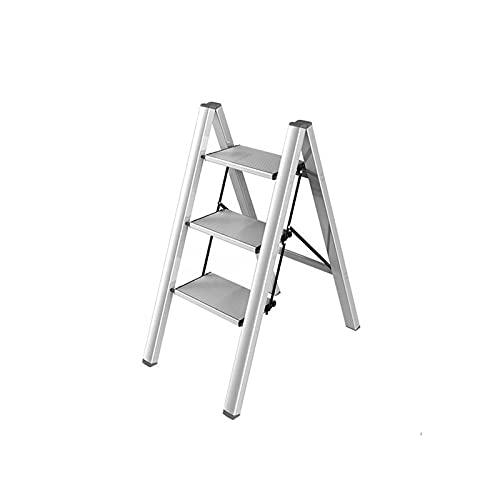 Scala Pieghevole Ultra Sottile, Sgabello di Alluminio Portatile Steso in Alluminio Bianco Scaletta A 3 Fase Scaletta 4-Step Ladder Display Stand per Balcone(Size:82CM,Color:Bianca)