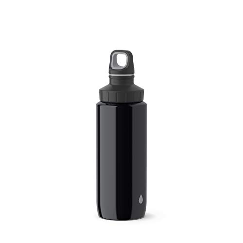 Emsa Light Steel 518353 Edelstahl Trinkflasche, 0,6 Liter, Schraubverschluss, Drop Grey