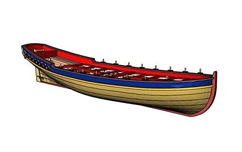 HYLK YUEZPKF fint vattenskeppsmodell båt-kit skala 1/48 full ribbad livbåt modellsatser Le Requin Chebec 1750 Skeppets livbåt modell