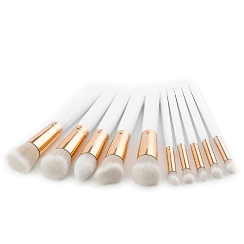 OPSBNWEUYS Fond Plat Base Kabuki Brosses Set Blanc 10pcs Mélange Poudre Blush Contour Brosse Grand Maquillage Brosse 17.5CM Longueur