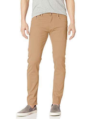 WT02 Men's Basic Color Twill Stretch Span Pants, Light Khaki(New), 36X30
