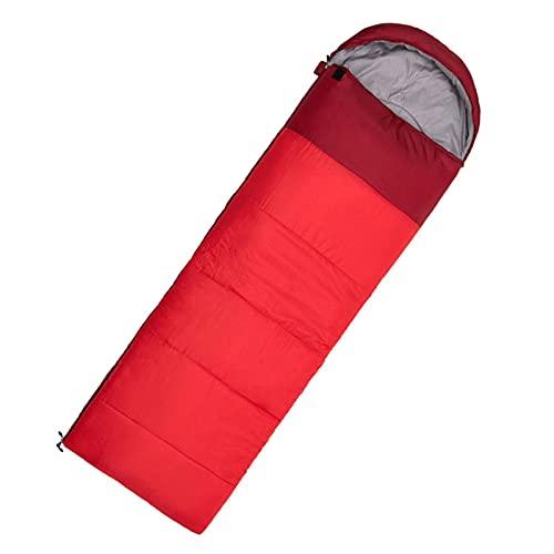 Saco de Dormir Manta con Sección de Cabeza para Camping Sacos de Dormir Ligero Compacto Impermeable para Adultos 4 Estaciones,Rojo,1400g