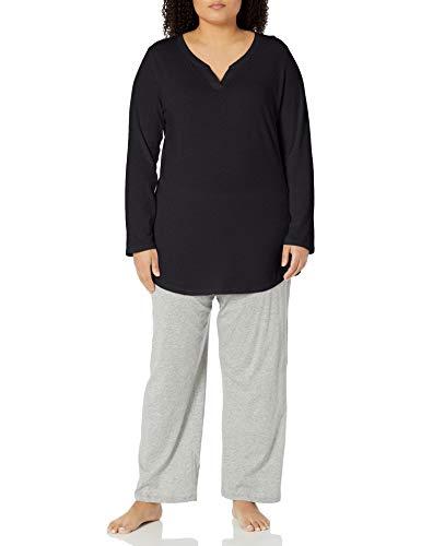 Just My Size Women's Plus Size Split Neck Tunic, Black, 4X