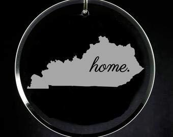 Tamengi Kentucky Christmas Ornament, Etched Glass Ornament, Kentucky Housewarming Gift, Wedding Gift, State Ornament, Kentucky Home, Kentucky Map, Custom Glass Ornament for Crafts