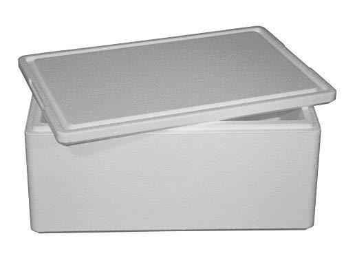 Thermobox, Styroporbox für Essen, Getränke & temperaturempfindliche Ware , Isolierbox aus Styropor mit Deckel , Maße: 59,5 x 39,5 x 28 cm , Wandstärke: 3 cm , Volumen: 39,4 L