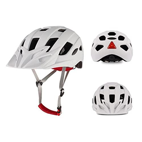 Tenwan Casco de bicicleta ajustable (53 – 63 cm), casco de ciclismo ligero transpirable con luz USB y visera desmontable para adultos y jóvenes