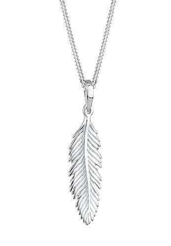 Elli Halskette Elli Damen Halskette mit Feder Anhänger Boho Gipsy Hippie Festival in 925 Sterling Silber 45 cm lang