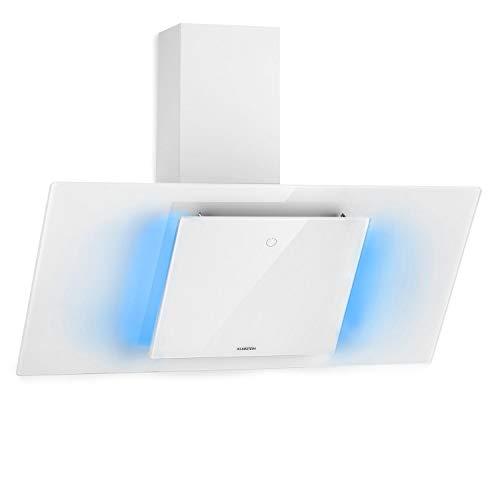 Klarstein Eleonora - Kopffreie Dunstabzugshaube, EEK A++, Abluftleistung: 426 m³/h, Touch Control, RGB-Ambiente-Farbe, 60 dB, Umluft und Abluft, LED Beleuchtung, Fettfilter, 90 cm, weiß