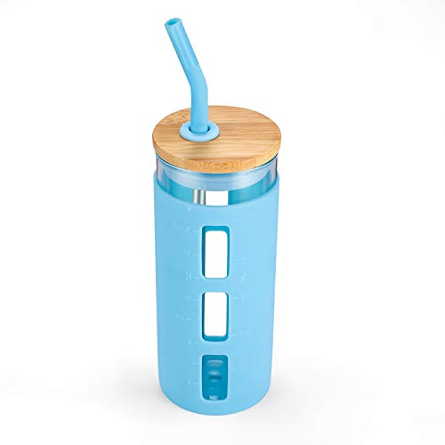 tronco 20oz Glass Tumbler Glass Water Bottle Straw Silicone Sleeve Bamboo Lid- BPA Free (Cape Cod Blue)