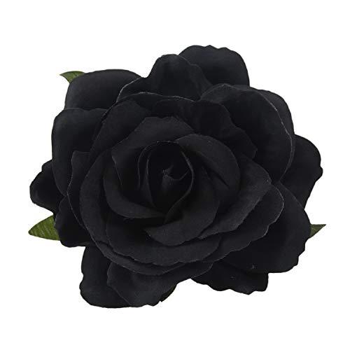 HLPIGF Seda pelo de la flor broche de la boda Ramillete clip de la flor 8 cm Broche Accesorios - Negro