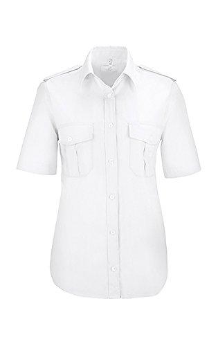GREIFF Damen-Pilot-Bluse mit Kent-Kragen   Kurzarm   Mit Schulterklappen   Zwei Aufgesetzte Brusttasche   MIt Stiftfach   Farbe: Weiß   Größe: 34