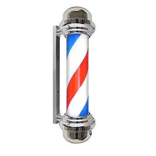 """34.5""""Barber Pole Luz LED - Peluquería de estilo clásico Peluquería Letrero abierto - Luz Peluquería Letrero Rojo Blanco Azul - Rayas giratorias Polo impermeable Guardar"""
