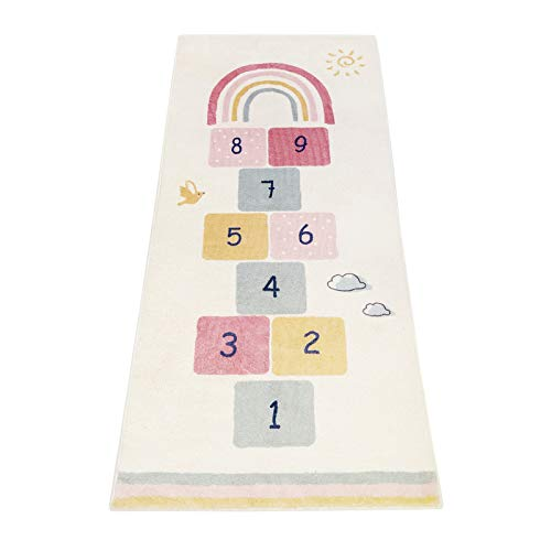 Topotdor Rainbow Sky Hopscotch Game Rugs,Kids Play Area Rugs Soft Durable Floor Carpet for Bedroom,Playroom Nursery,Great Gift for Girls & Boys (27.5' x 63', Multicolor)