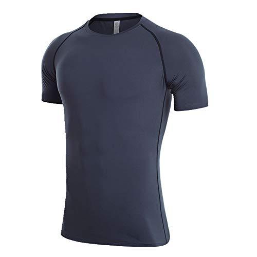 Fitness Anzug Herren Basketball Training Laufen Kurzarm Sport T-Shirt Sommer Gr. 56, asche